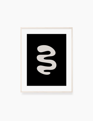 BLACK AND BEIGE MINIMALIST ABSTRACT ART. Printable Wall Art Illustration. Abstract curvy shape. WA054