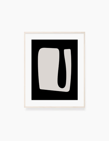BLACK AND BEIGE MINIMALIST ABSTRACT ART. Printable Wall Art Illustration. Abstract Shape. WA065