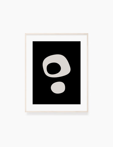 BLACK AND BEIGE MINIMALIST ABSTRACT ART. Printable Wall Art Illustration. Abstract Round Shapes. WA068