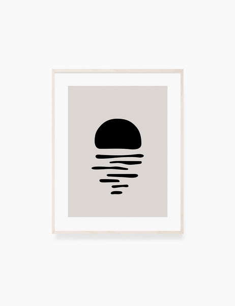 BLACK AND BEIGE MINIMALIST ABSTRACT ART. Printable Wall Art Illustration. Abstract Sun/Moon Reflection on the Water. WA069