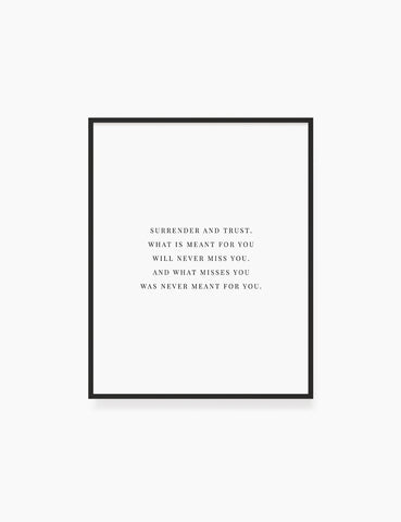 Printable Wall Art Quote: SURRENDER AND TRUST Printable Poster. Inspirational Quote. Motivational Quote. WA007 - Paper Moon Art & Design