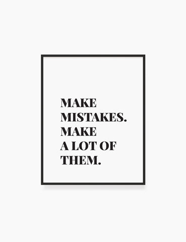 Printable Wall Art Quote: MAKE MISTAKES Printable Poster. Inspirational Quote. Motivational Quote. WA012 - Paper Moon Art & Design