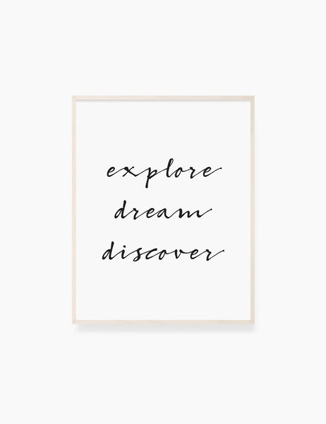 Printable Wall Art Quote: EXPLORE. DREAM. DISCOVER. Printable Poster. Inspirational Quote. Motivational Quote. WA023 - Paper Moon Art & Design