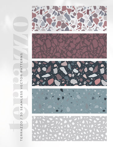 30 TERRAZZO PATTERNS SEAMLESS VECTOR 01 Terrazzo Texture Backgrounds. Colorful, modern, and trendy terrazzo pattern digital paper pack. - PAPER MOON Art & Design
