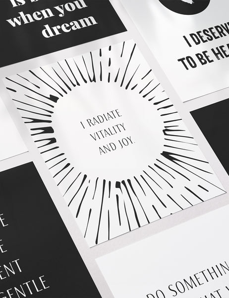 Vision Board Printables | Printable Vision Board Kit | Printable Affirmation Cards | Inspirational & Motivational Quotes | Printable Quotes | Printable Journal & Planner Cards | 3.5x5 | 3x4 | 2x3 | PDF + JPEG | Planner Printables | Planner Accessories | Black and White | Clean Design | Minimal Aesthetic