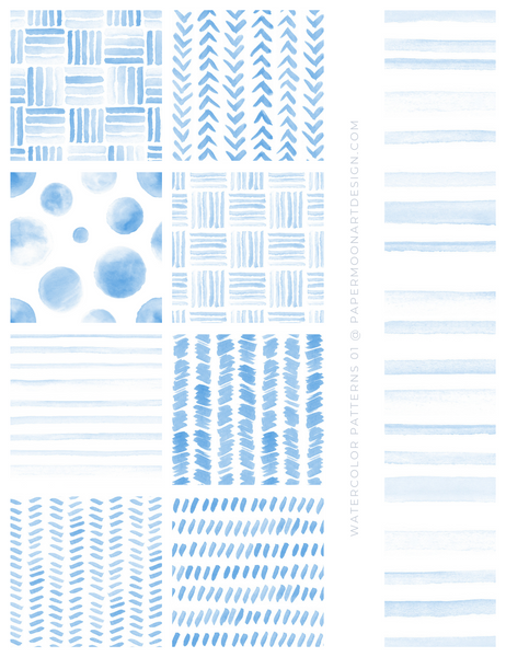 20 Watercolor Patterns 01 Blue, Seamless Watercolor Patterns - Paper Moon Art & Design
