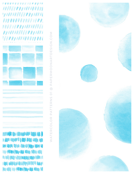 20 Watercolor Patterns 01 Bright Blue, Seamless Watercolor Patterns - Paper Moon Art & Design
