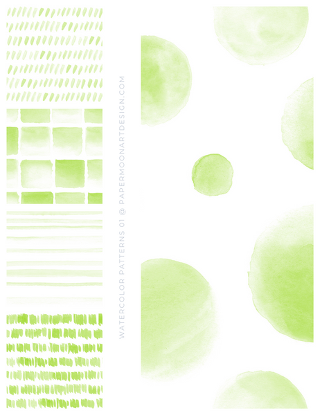 20 Watercolor Patterns 01 Green, Seamless Watercolor Patterns - Paper Moon Art & Design