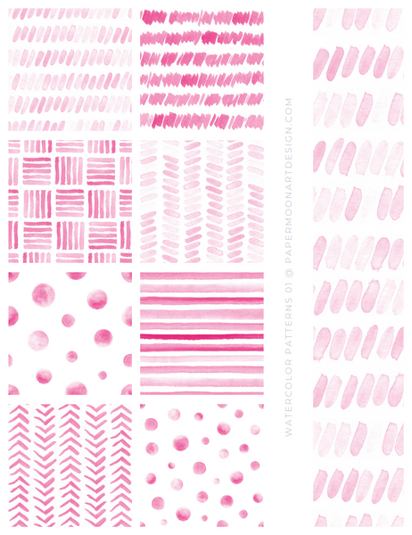 20 Watercolor Patterns 01 Pink, Seamless Watercolor Patterns - Paper Moon Art & Design