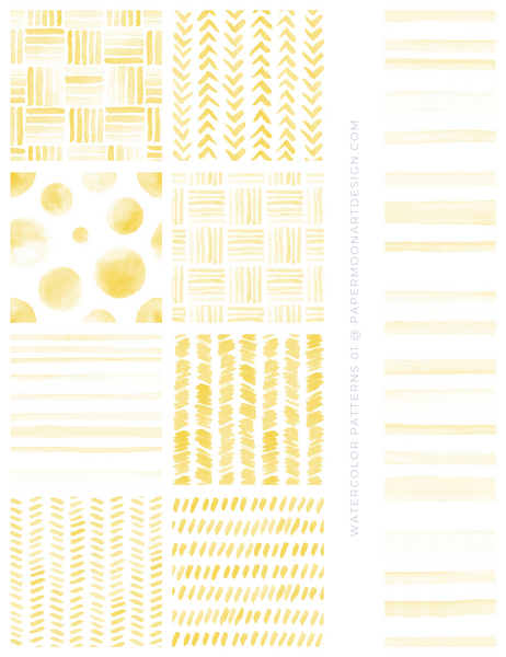 20 Watercolor Patterns 01 Yellow, Seamless Watercolor Patterns - Paper Moon Art & Design