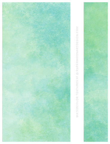 12 Watercolor Texture Backgrounds 01 Green and Blue, Digital Scrapbook Paper - Paper Moon Art & Design