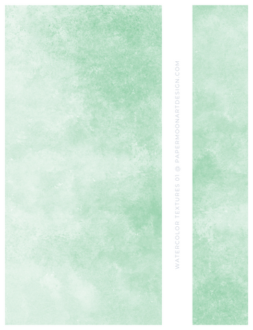 12 Watercolor Texture Backgrounds 01 Mint Green, Digital Scrapbook Paper - Paper Moon Art & Design
