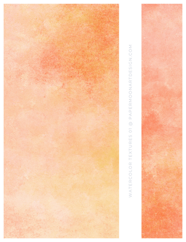 12 Watercolor Texture Backgrounds 01 Peach and Orange, Digital Scrapbook Paper - Paper Moon Art & Design