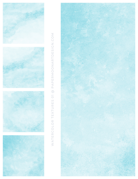 12 Watercolor Texture Backgrounds 01 Soft Blue, Digital Scrapbook Paper - Paper Moon Art & Design