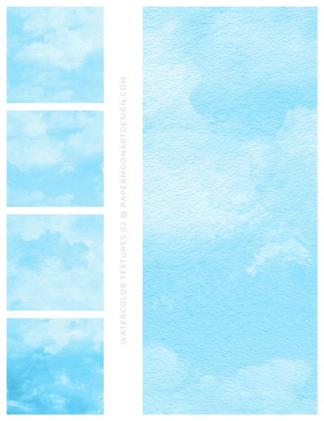12 Watercolor Texture Backgrounds 02 Bright Blue, Digital Scrapbook Paper - Paper Moon Art & Design