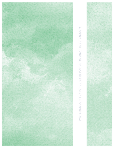 12 Watercolor Texture Backgrounds 02 Mint Green, Digital Scrapbook Paper - Paper Moon Art & Design