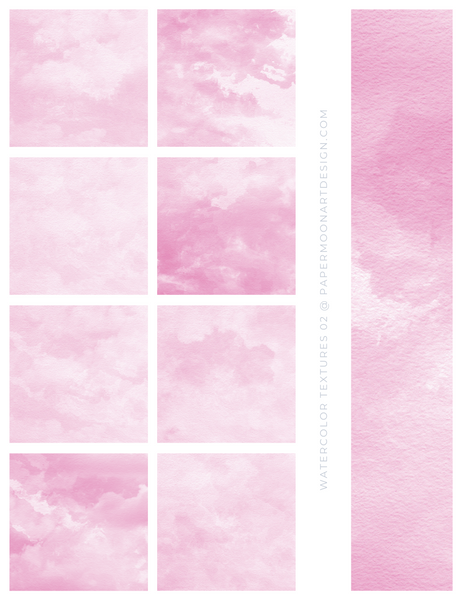 12 Watercolor Texture Backgrounds 02 Pink, Digital Scrapbook Paper - Paper Moon Art & Design