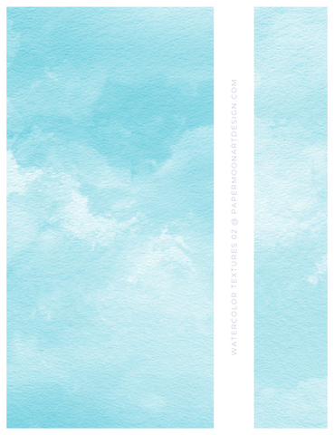 12 Watercolor Texture Backgrounds 02 Soft Blue, Digital Scrapbook Paper - Paper Moon Art & Design