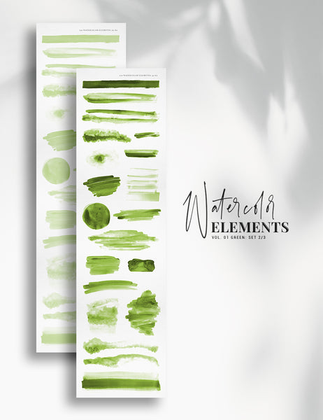 120 Watercolor Texture Elements 01 Green, Watercolor Shapes, Splotches, Brush Strokes - Paper Moon Art & Design