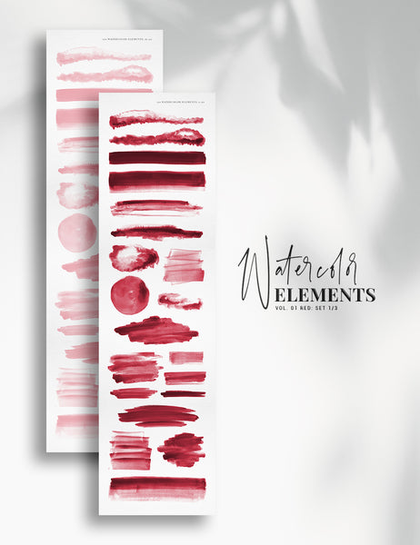 120 Watercolor Texture Elements 01 Red, Watercolor Shapes, Splotches, Brush Strokes - Paper Moon Art & Design