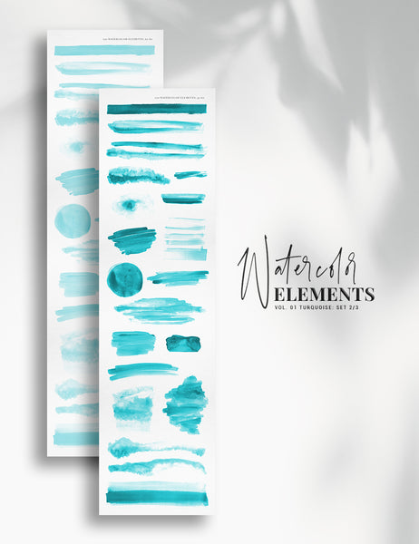 120 Watercolor Texture Elements 01 Turquoise Blue, Watercolor Shapes, Splotches, Brush Strokes - Paper Moon Art & Design