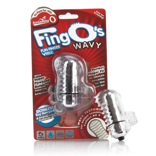 The FingO Wavy gewellter Fingervibrator transparent The Screaming O FNG-W101