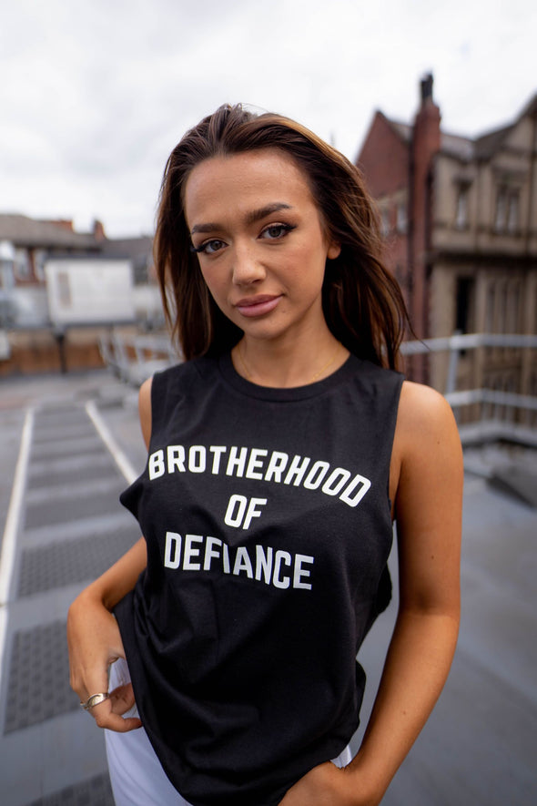 BROTHERHOOD OF DEFIANCE - WOMEN'S CUT OFF CROP T-SHIRT