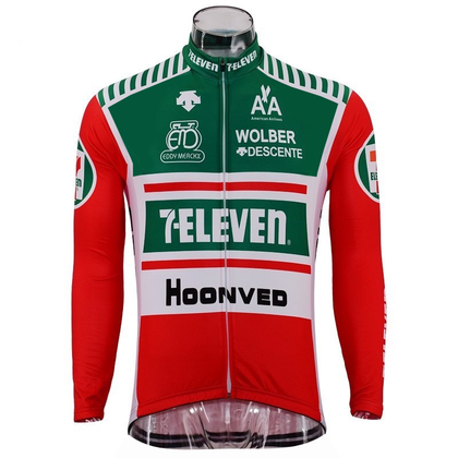 Retro Winter Wielerjack (fleece) 7-Eleven - Rood/Groen