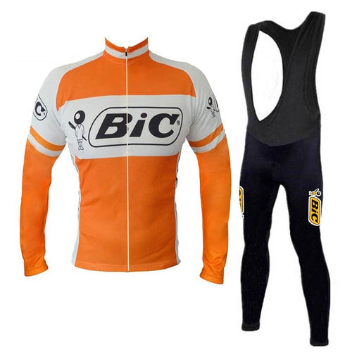 Ensemble rétro réplique veste vélo et collant pantalon long de Bic - Orange