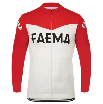Retro Winter Wielerjack (fleece) Faema - Rood/Wit