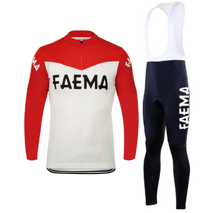 Retro Cycling Outfit Jacket (fleece) and Long Pants Faema - Red/White