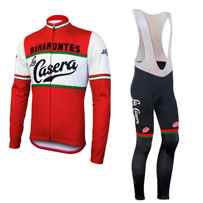 Retro Cycling Outfit Jacket (fleece) and Long Pants La Casera - Red