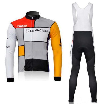 Retro Cycling Outfit Jacket (fleece) and Long Pants La Vie Claire - Multicoloured