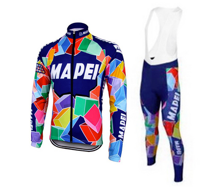 Ensemble rétro réplique veste vélo et collant pantalon long de Mapei - Multicolore