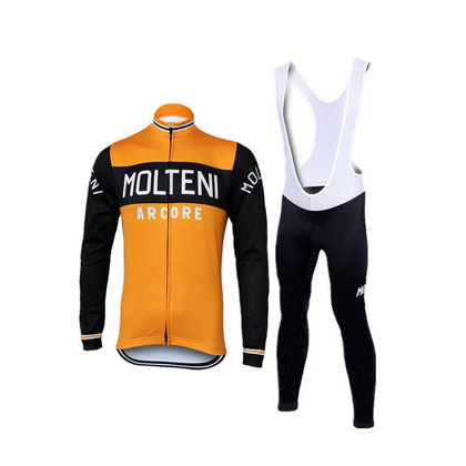Retro Cycling Outfit Jacket (fleece) and Long Pants Molteni Arcore - Orange