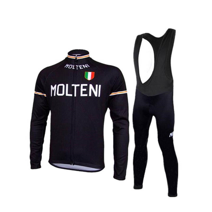 Retro cycling outfit jack (fleece) and long pants Molteni Arcore – Black