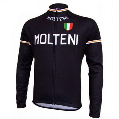 Retro Cycling Jersey Molteni long sleeves - Black