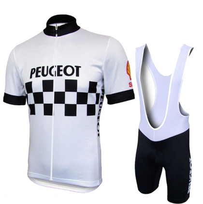 Retro Cycling Outfit Peugeot - White/Black