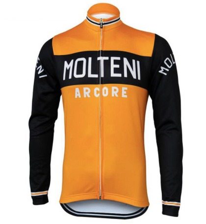 Retro Cycling Jacket (fleece) Molteni - Orange