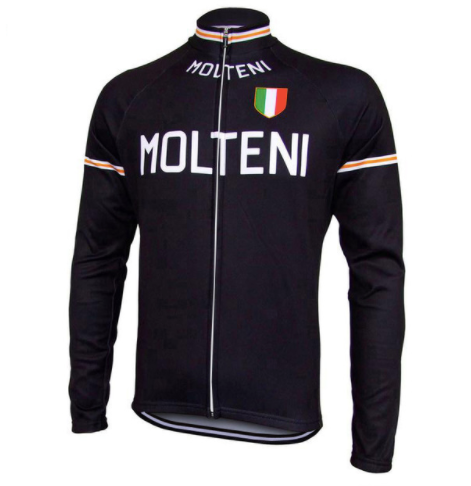 Retro warm Wielerjack (fleece) Molteni - Zwart
