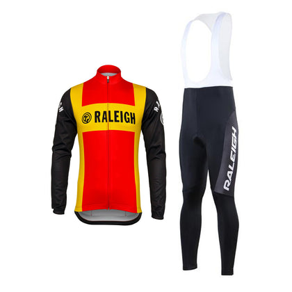 Ensemble rétro réplique veste vélo et collant pantalon long de TI-Raleigh - Rouge