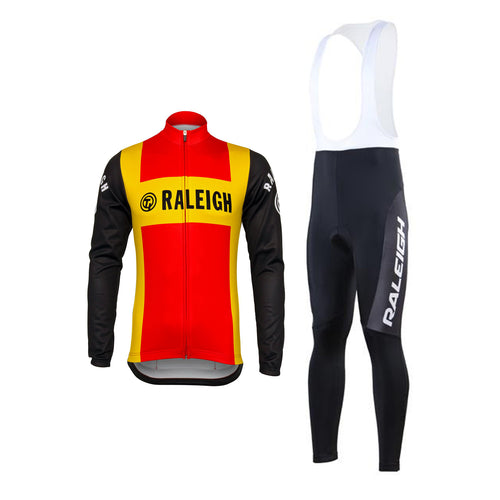 Retro Cycling Outfit Jacket (fleece) and Long Pants TI-Raleigh - Red