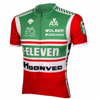 Retro Cycling Jersey 7-Eleven - Red/Green