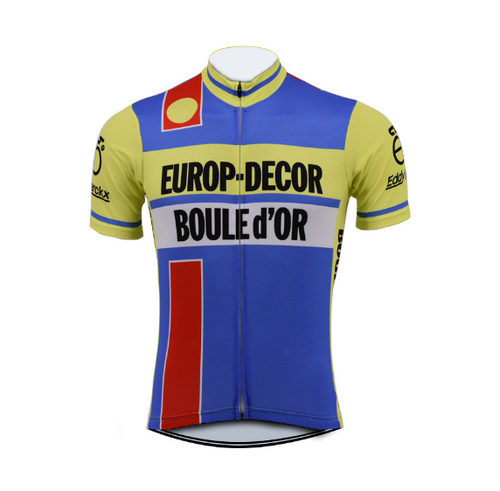 Retro Cycling Jersey Europ-Decor - Yellow/Blue