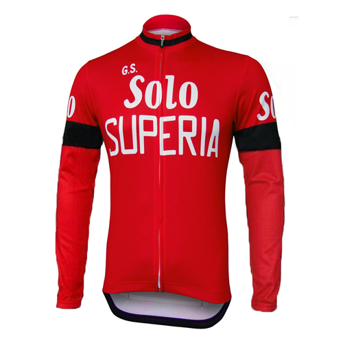 Retro Winter Wielerjack (fleece) Solo Superia - Rood