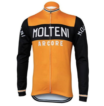 Retro Cycling Jersey Molteni long sleeves - Orange