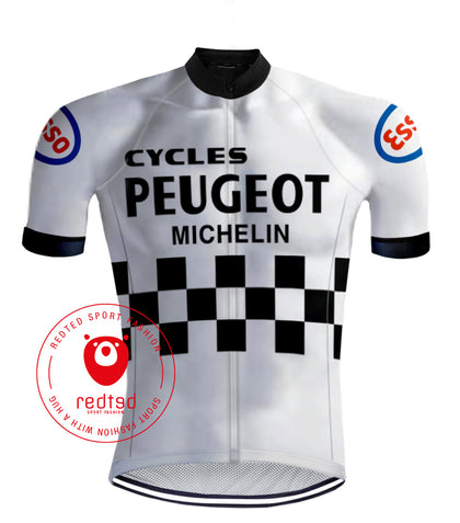 Maillot cycliste Peugeot Noir-Blanc - RedTed