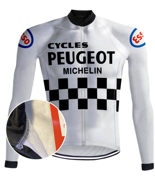 Peugeot Retro Cycling (Fleece) jacket - Black-White - REDTED