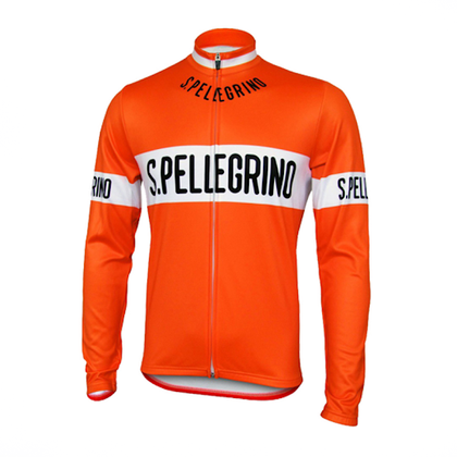 Retro Cycling Jersey Pellegrino Long Sleeves - Orange
