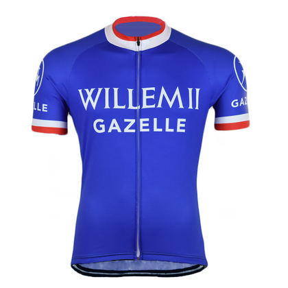 Retro Wielershirt Willem II-Gazelle - Blauw